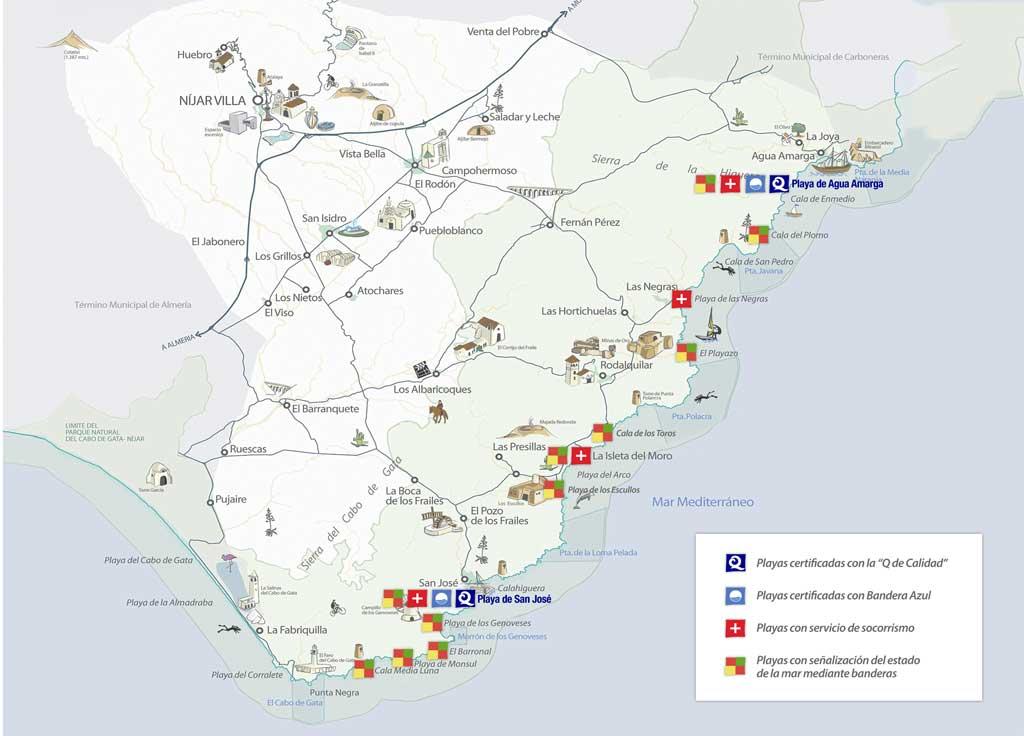Mapa Banderas Azules y Q de calidad de Nijar Almeria Parque NAutral de Cabo de Gata Nijar