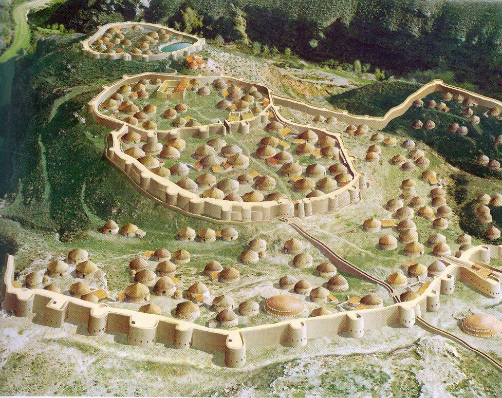reconstruccion de como seria el poblado de los millares en almeria