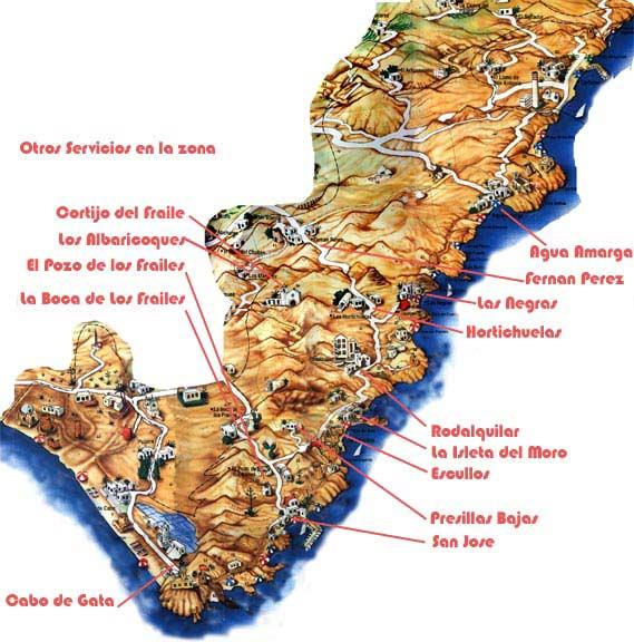 mapa del parque natural cabo de gata nijar