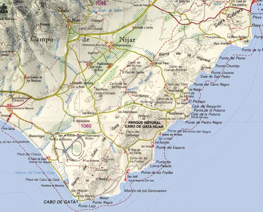 mapa de la comarca de Níjar, Parque Natural