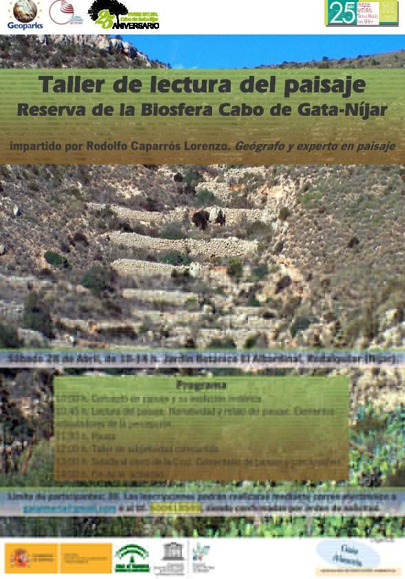 Cartel Taller Lectura Paisaja Cabo de Gata Nijar