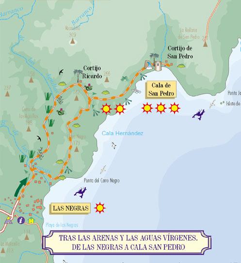 Mapa de Rutal de Las Negras a Cala San Pedro Cabo de Gata