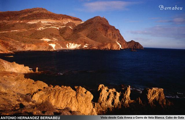 Vista de Cala Arena a Vela Blanca Cabo de Gata