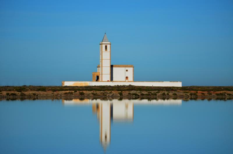 Iglesia de las Salina de Cabo de Gata recién restaurada....