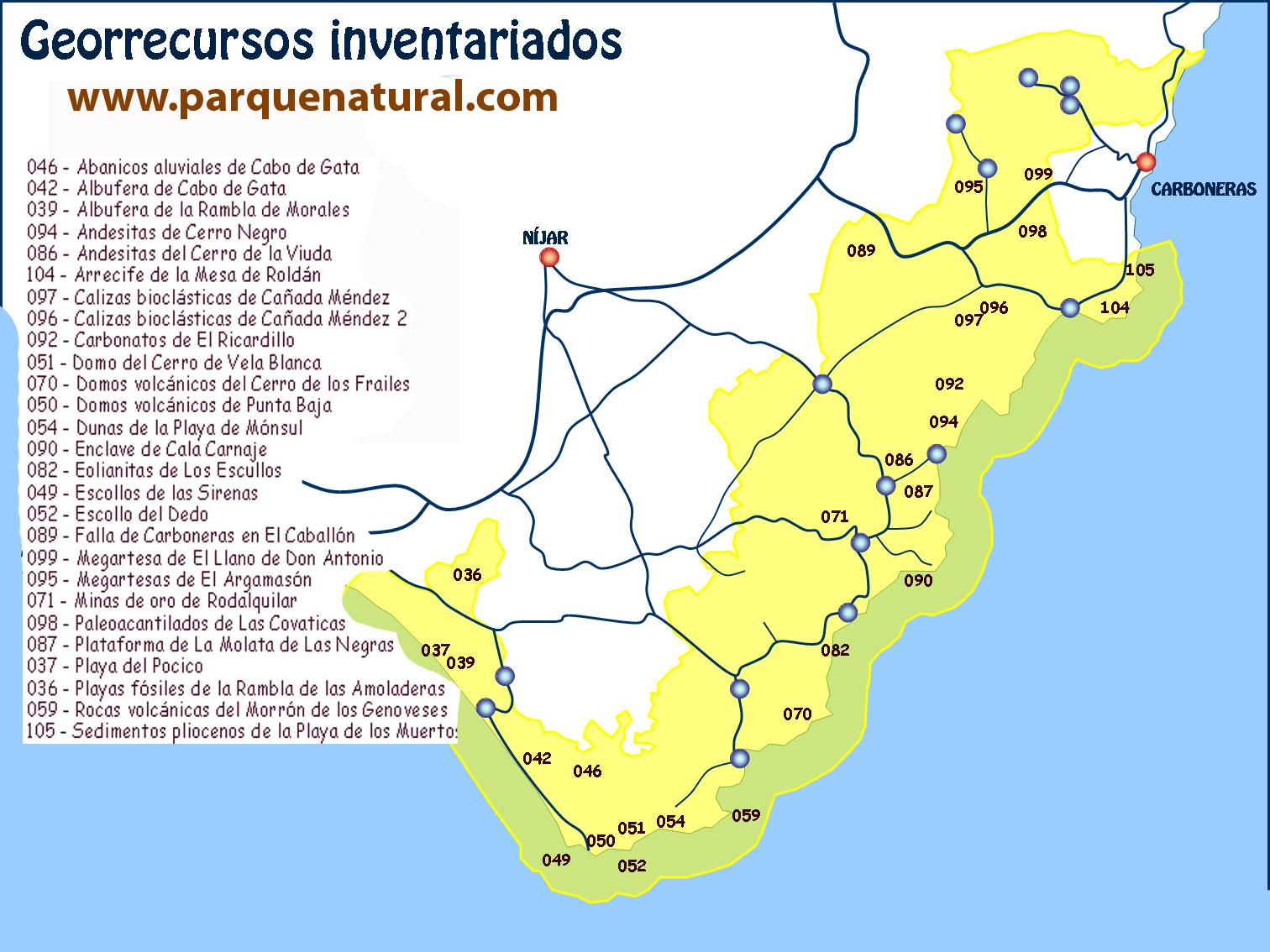 mapa deorecursos inventariados cabo de gata