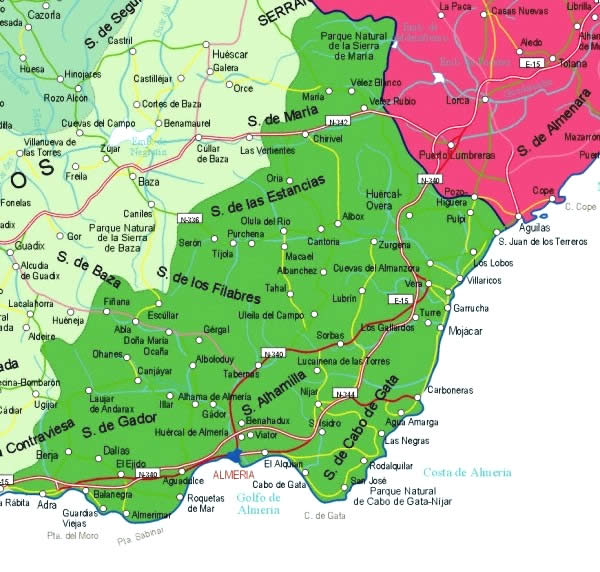 mapa sierras provincia almeria
