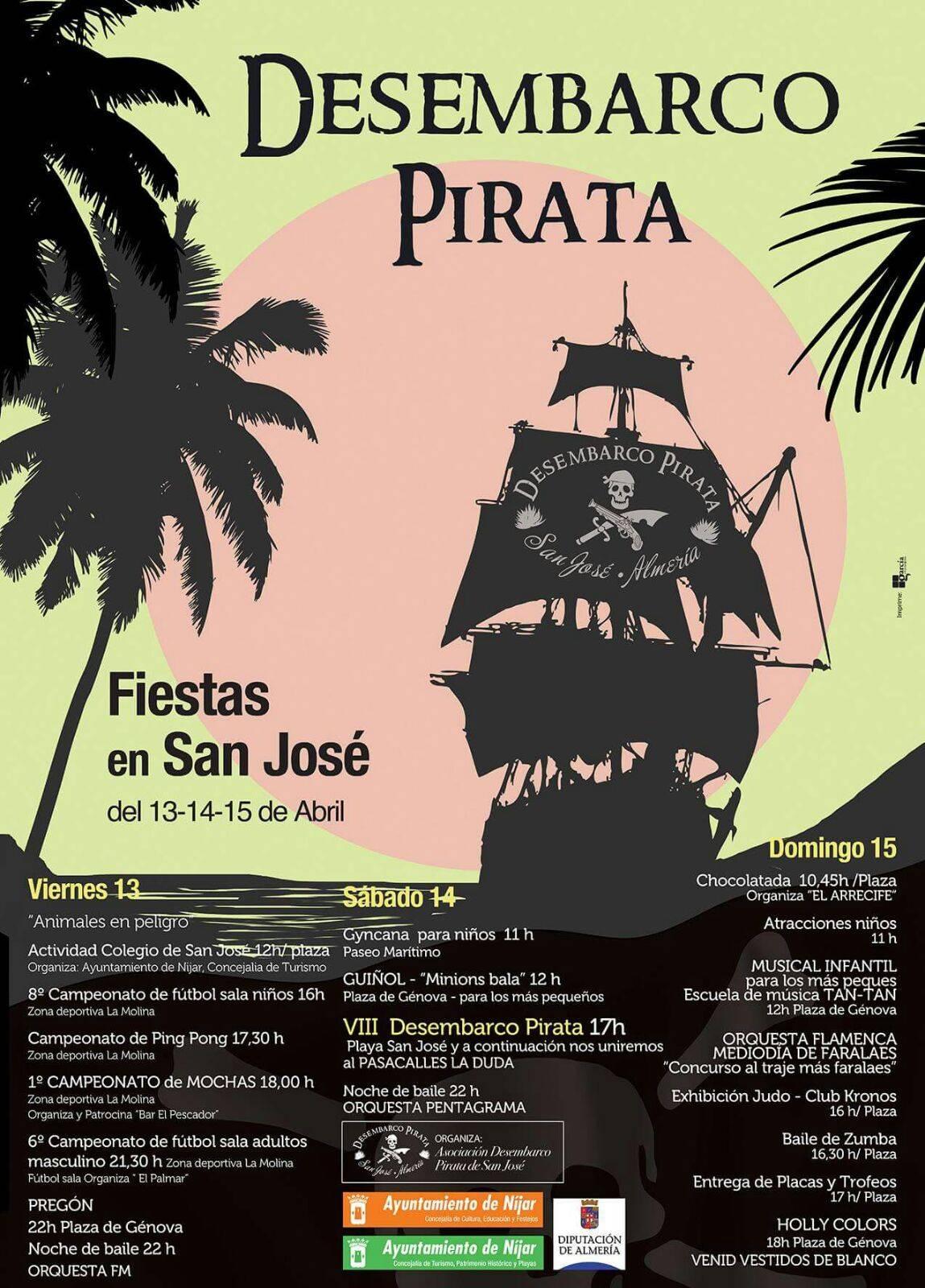 13, 14, 15 de Abril VIII Desembarco Pirata en San Jose  2018