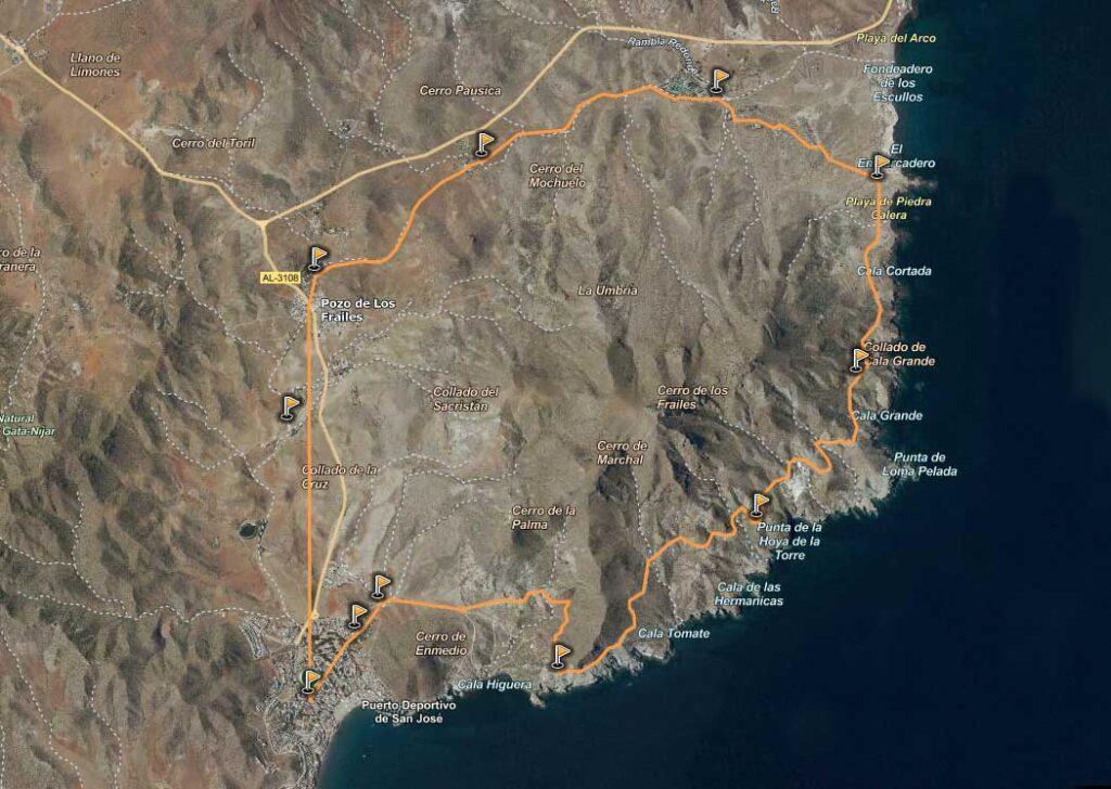 Mapa Cala Higuera Ruta Senderismo San Jose Los Escullos Pozo De Los Frailes 1024x728