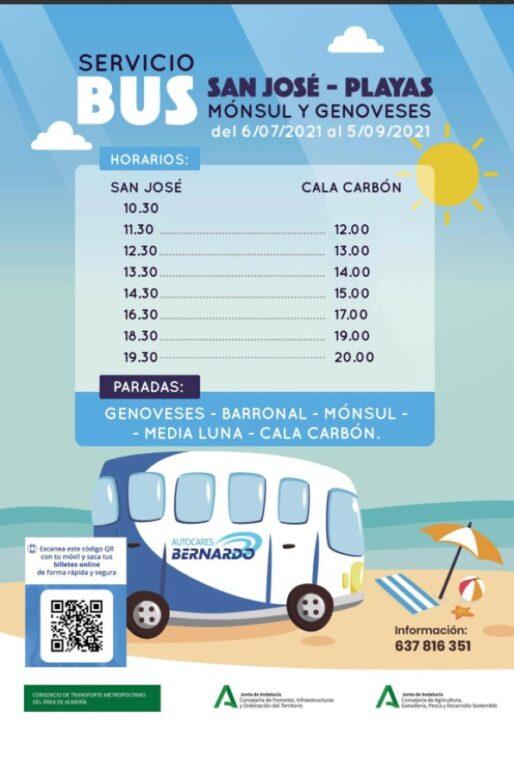 Servicio Autobus Playas Sanjose Genoveses Minsul Cala Carbon Cabo De Gata